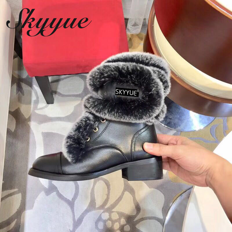 SKYYUE Genuine Leather gladiator Lace Up Women Boots Real Fur Warm Winter Boots Low Heel Ankle Boots Shoes Women 2019 white women ankle boots lace rabbit fur cuff beadings lolita sweet low heel winter fall shoes lady student female boots