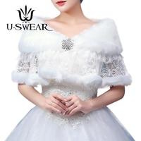 U SWEAR 2018 New Arrival Women White Wedding Jackets Lace Patchwork Faux Fur Shawl Wedding Bolero Winter Cloak Bridal Jacket