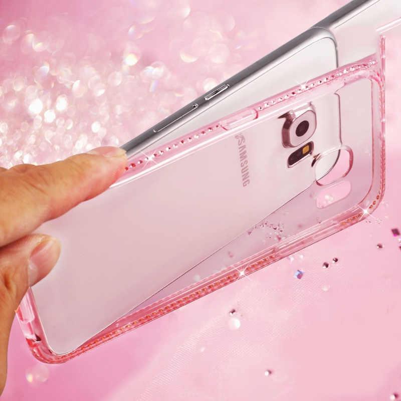 SIXEVE Điện Thoại Di Động Trường Hợp Đối Với Samsung Galaxy S8 S9 Cộng Với S7 S6 Cạnh S5 Neo Lưu Ý 4 5 9 G530 sang trọng rõ ràng silicone Tỏa Sáng Kim Cương Bìa