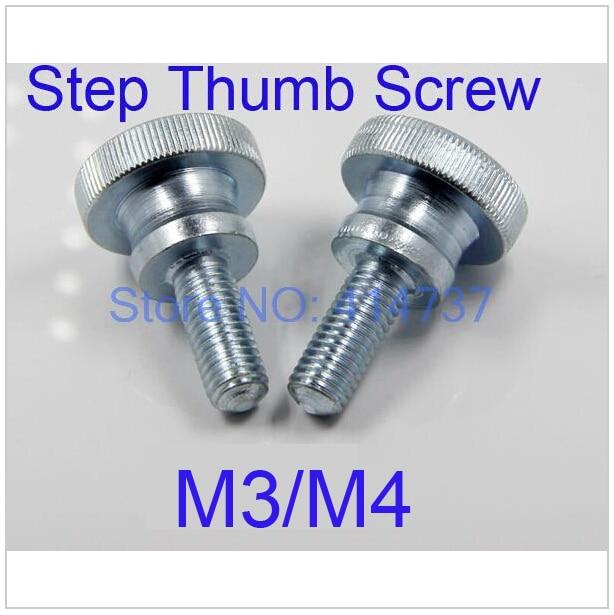100 Pcs/Lot M3/M4 Flat Head Step Thumb Screw /Round Head Step Knurling Hand Twist Screw/Hand Tighten Screws Length 6mm--30mm 20pcs m3 6 m3 x 6mm aluminum anodized hex socket button head screw
