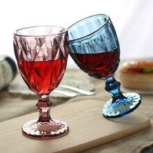 Vintage de vidrio de vino transparente relieve Copa color retro gafas engrosamiento copas regalos de boda vaso de bebida tazas