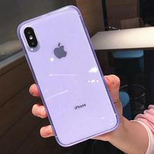 Kolorowe przezroczyste odporne na wstrząsy ramki etui na telefony dla iPhone 1111Pro X XS XR XS Max 8 7 6 6S Plus miękka ochrona tpu tylna okładka tanie tanio Ranipobo Przezroczysty Zwykły Aneks Skrzynki Transparent Phone Case Odporna na brud Anti-knock Apple iphone ów IPHONE XS MAX