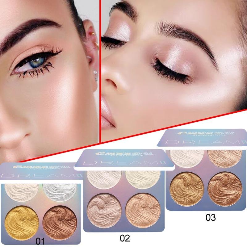 Cmaadu Glow Kit 4 Color Baked Highlighter Palette Shimmer Illuminator Contouring Brighten 3D Face Powder Makeup Bronzer 4