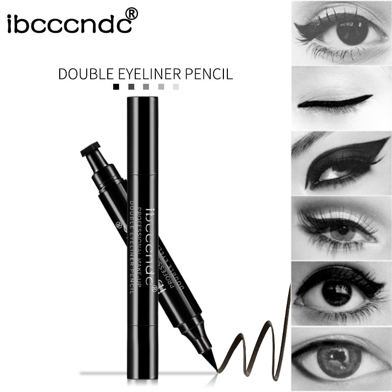 IBCCCNDC Brand Makeup Black Eye Liner Liquid Pencil Quick Dry Waterproof Black Double ended Makeup Stamps Wing Eyeliner Pencil in Eyeliner from Beauty Health