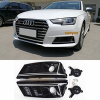 MONTFORD For A4 B9 2017 2018 ABS Glossy Black Front Bumper Foglight Grille Fog Light Lamp