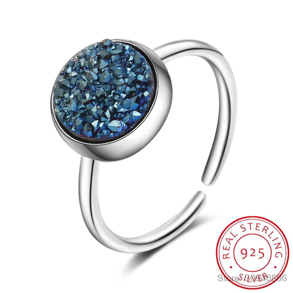 Round Kyanite 925 Sterling Silver Blue Crystal Fragment Dream Star Planet Rings For Women Adjustable Ring S-R466