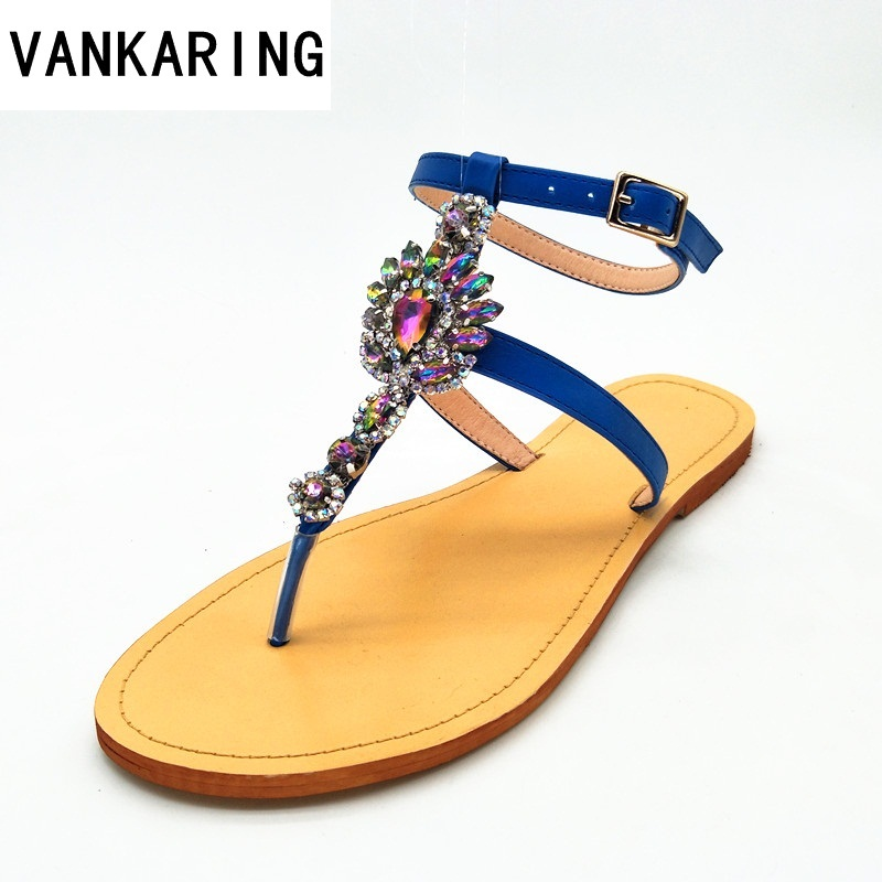 VANKARING women summer boots leather sandals new 2018 fashion flat heel open toe rhinestones casual shoes