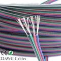Cabo de cobre estanhado 22AWG RGB led, 4 pinos RGB cabo de fio isolado de PVC, 22 faixa de extensão ligação UL2468 awg fio frete grátis