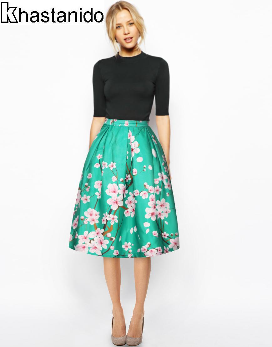 Floral Midi Skirt Green Promotion-Shop for Promotional Floral Midi ...