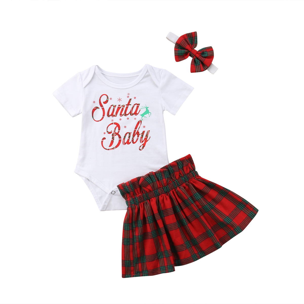 Cotton, Skirts, Kids, Romper, Set, Xmas