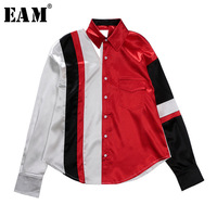 EAM 2018 New Spring Lapel Long Sleeve Red Striped Split Joint Hollow Out Loose Shirt