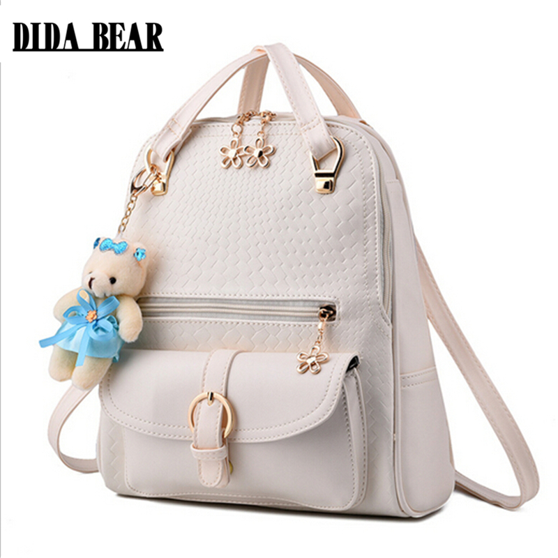 DIDA BEAR Women Backpacks Bolsas Mochila PU Leather Solid Candy Colors Girls School Bags Femme Sac A Dos Black Beige Pink Blue new women leather backpack black bolsas mochila feminina girl schoolbag travel bag solid candy color green pink beige