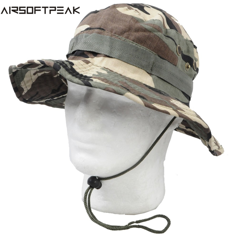 Airsoft Tactical Camouflage Boonie Hats Military Accessories Fishing Hunting Outdoor Hat Wide Brim Men Women Hiking Sun Hat mini kompas sleutelhanger