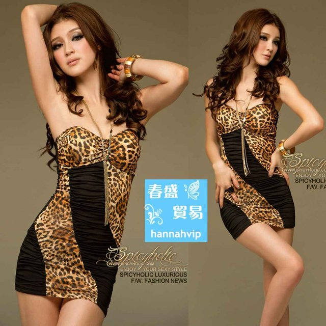 Womens Sexy Strapless Wild Leopard Black Slender Ruched Cocktail Mini Dress F1025-BL1-140g