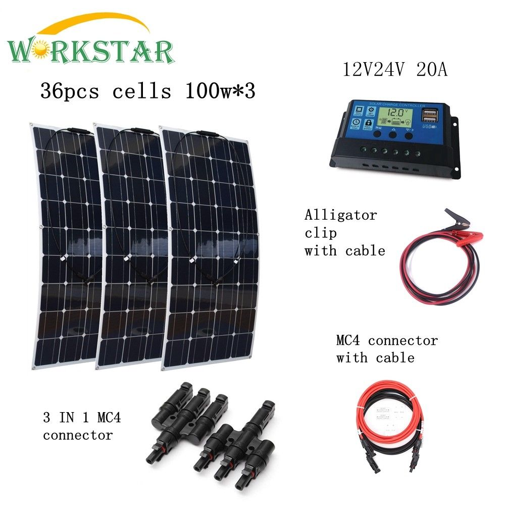 300W Off Grid Solar System 3pcs 100W Mono Solar panel For Motorhome Boats Roof Battery Charger