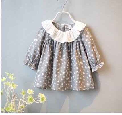 2016 Spring Fashion New children Girls Clothing Cute Lace Long Floral Sleeve Blouse Ruffle Blouse Tops