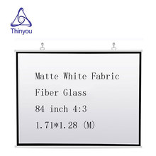 Thinyou 84 inch 4:3 projector screen Matte White Fabric Fiber Glass Roll Up Wall Mounted for Business Meeting Home Cinema