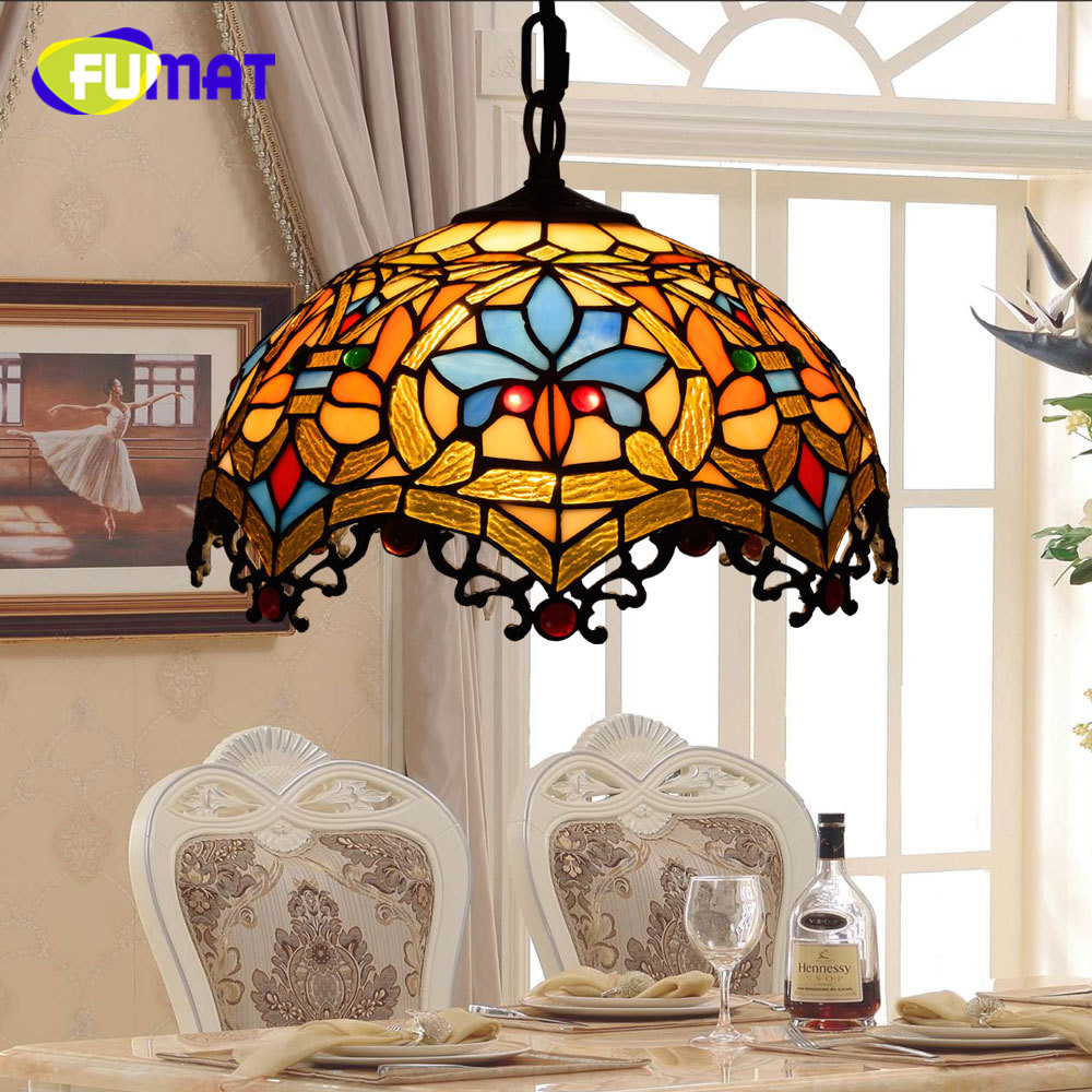 FUMAT Porch Balcony Creative American Dragon Tail Tiffany Stained Glass Retro Bedroom Bedside Hotel restaurant Chandelier все цены