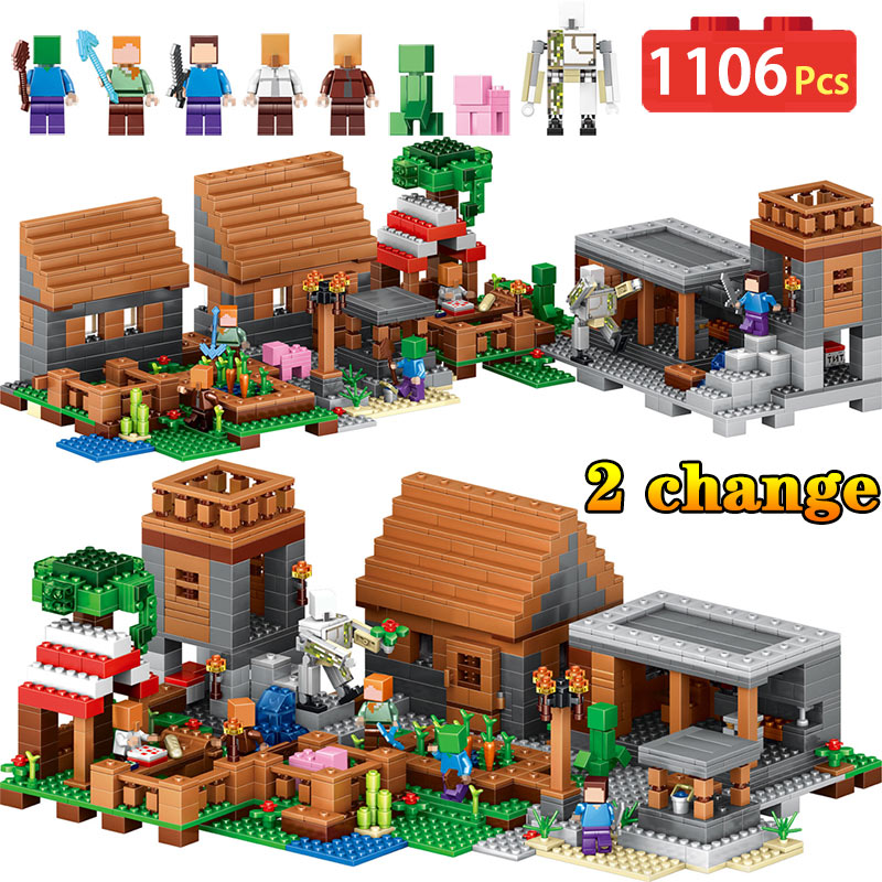 1106pcs My World Compatible LegoINGly Minecrafted Building Blocks A Large Village Bricks DIY Enlighten Gift Toys for Children 400 pcs micro my world building blocks diy nether bricks blocks enlightentoys for kids compatible legoingly minecraft village