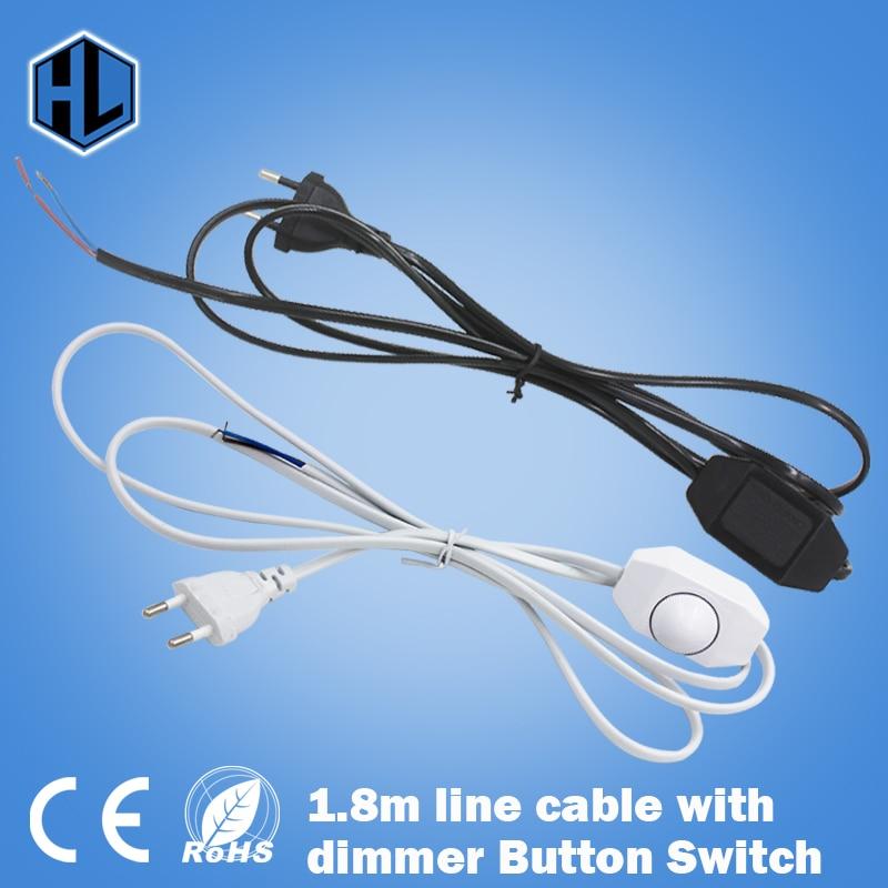 0-60 Watt Lichtdimmer Lichtschakelstekker Vermogen 1,8 m Snoer Draad Lijn Kabel Knopschakelaar voor LED-lamp
