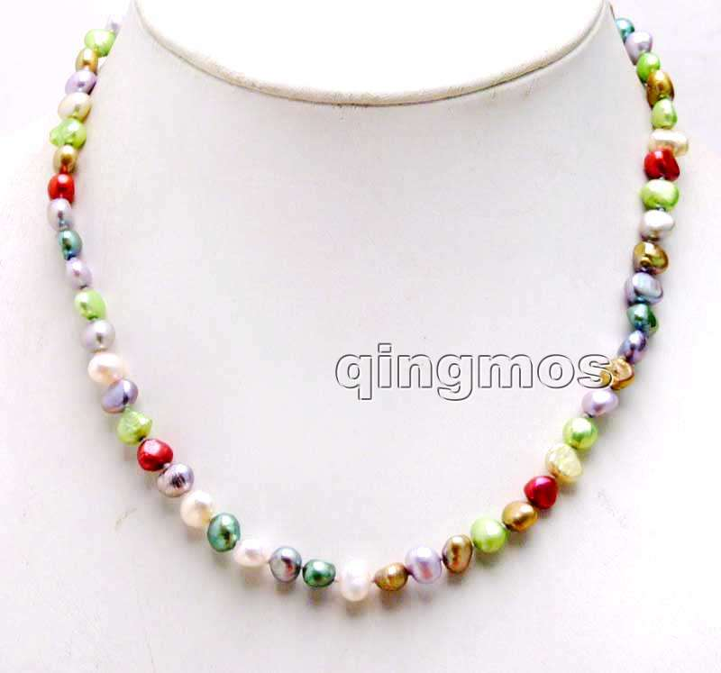 Small 6-7mm Multicolor Baroque Natural Freshwater Pearl Necklace 17''-nec6247 wholesale/retail Free shipping