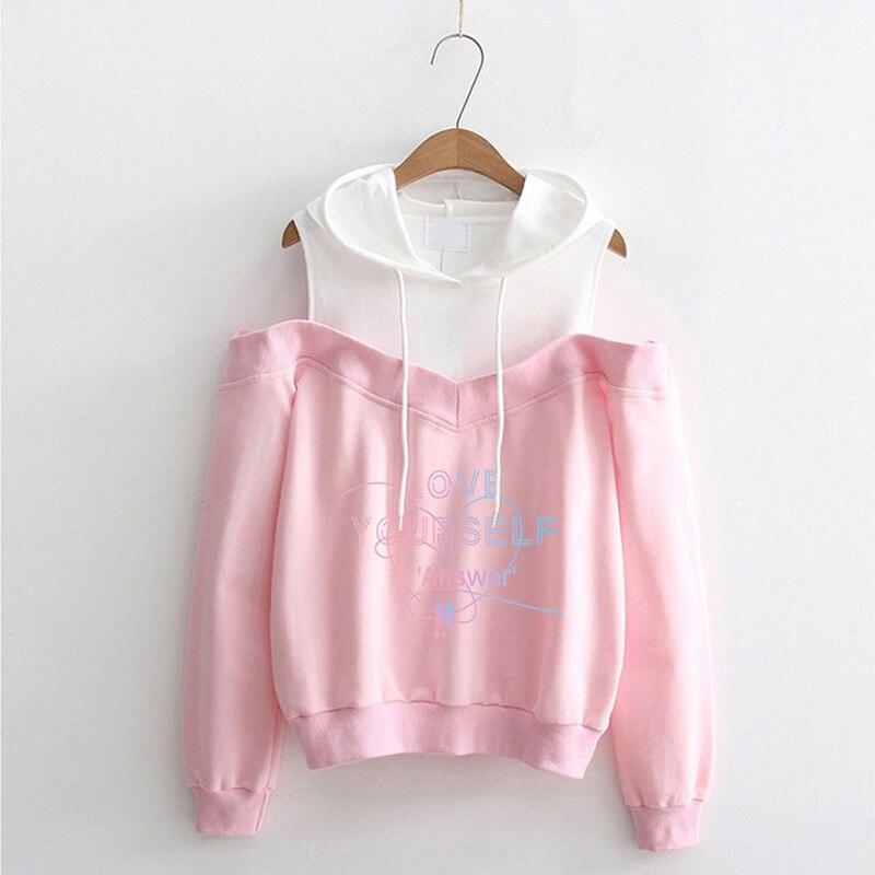 Bts Love Yourself Hoodies Sweatshirts Women Pink Hood Off -5582