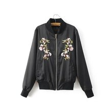 Free shipping casual women's European American style black embroidered stand – collar zipper pocket thin jacket uniform