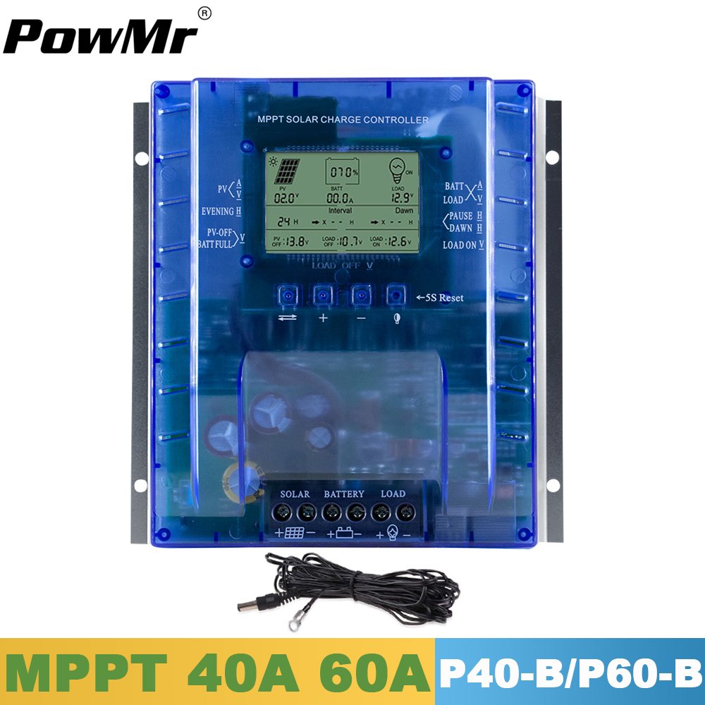 PowMr MPPT Solar Charger Controller 60A 40A 12V 24V LCD Battery Charger High Efficiency All Value On One Screen Solar Regulator