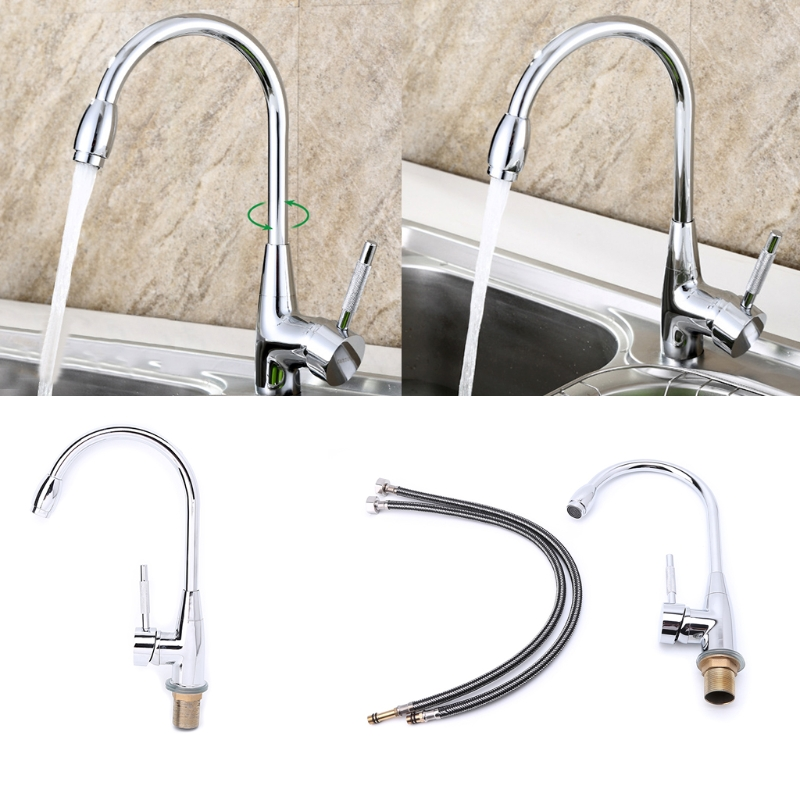 360 Degree Swivel Alloy Kitchen Mixer Cold And Hot Basin Sink Mixer Tap Kitchen Faucet With 2 Pipes