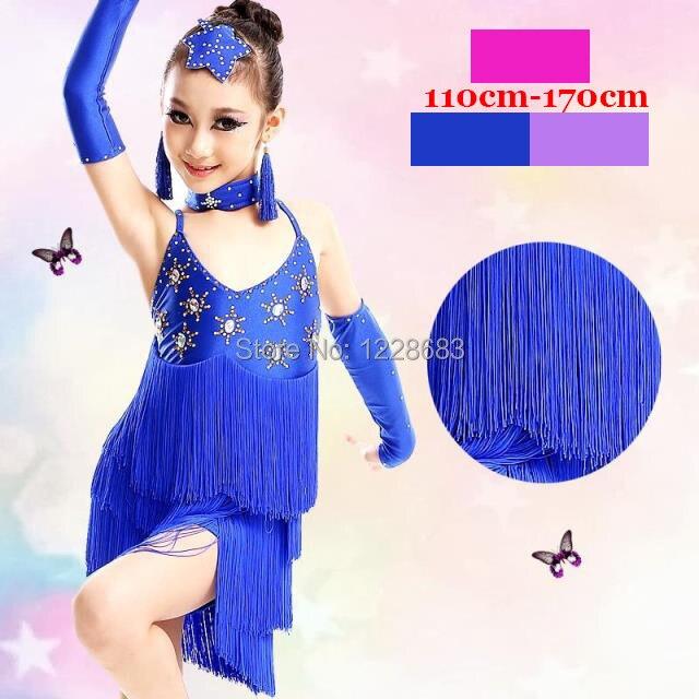 Dance Latin Competition Dresses Woman Sequin Halters Turquoise Fringe Dress Latin Ballroom Dress Ladies Latin Dresses