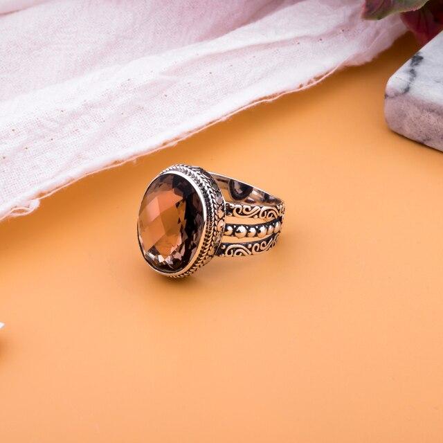 brixini.com - Natural Oval Smoky Quartz Ring