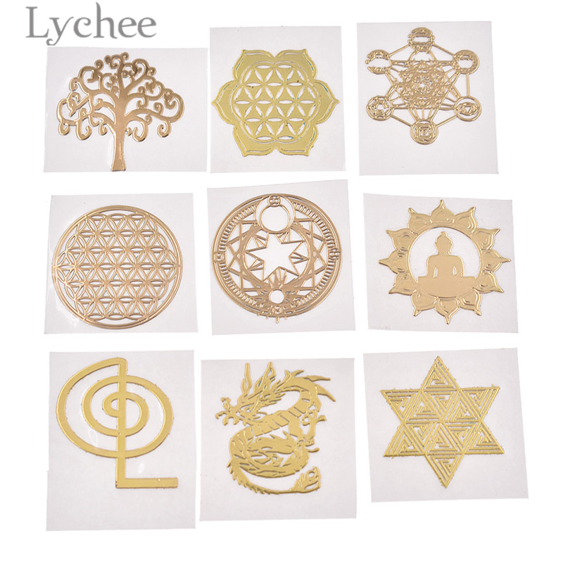 Lychee Life 5pcs Copper Geometric Decoration Tree Dragon Design Scrapbooking Decors DIY Crafts Album Embellishemnts