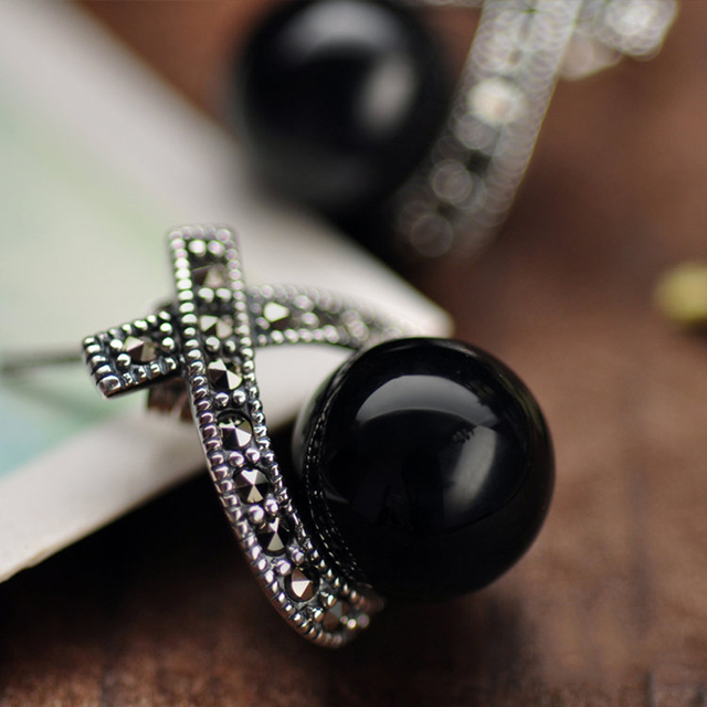 925 Sterling Silver Earrings For Women Inlaid Black Onyx Round Beads Vintage Marcasite Cross Design Fine Jewelry-in Earrings from Jewelry & Accessories on Aliexpress.com | Alibaba Group