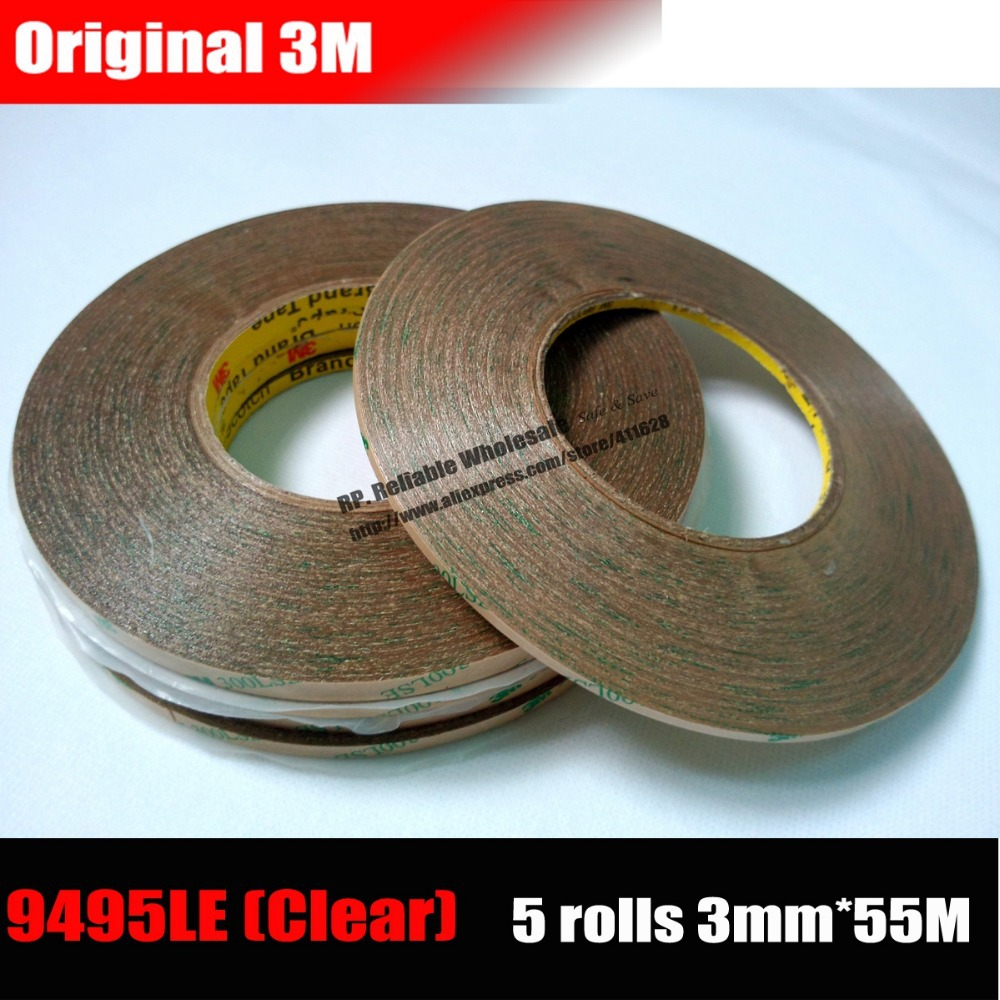 5 Rolls (3mm*55M*0.17mm) Original 3M 9495LE Strong Adhesive Waterproof Tape Film for Phone Tablet Screen Display Digitzer 10m super strong waterproof self adhesive double sided foam tape for car trim scotch