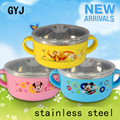 stainless steel tableware with handle baby children's tableware kids tableware baby bowl bear mickey minnie baby feeding W10
