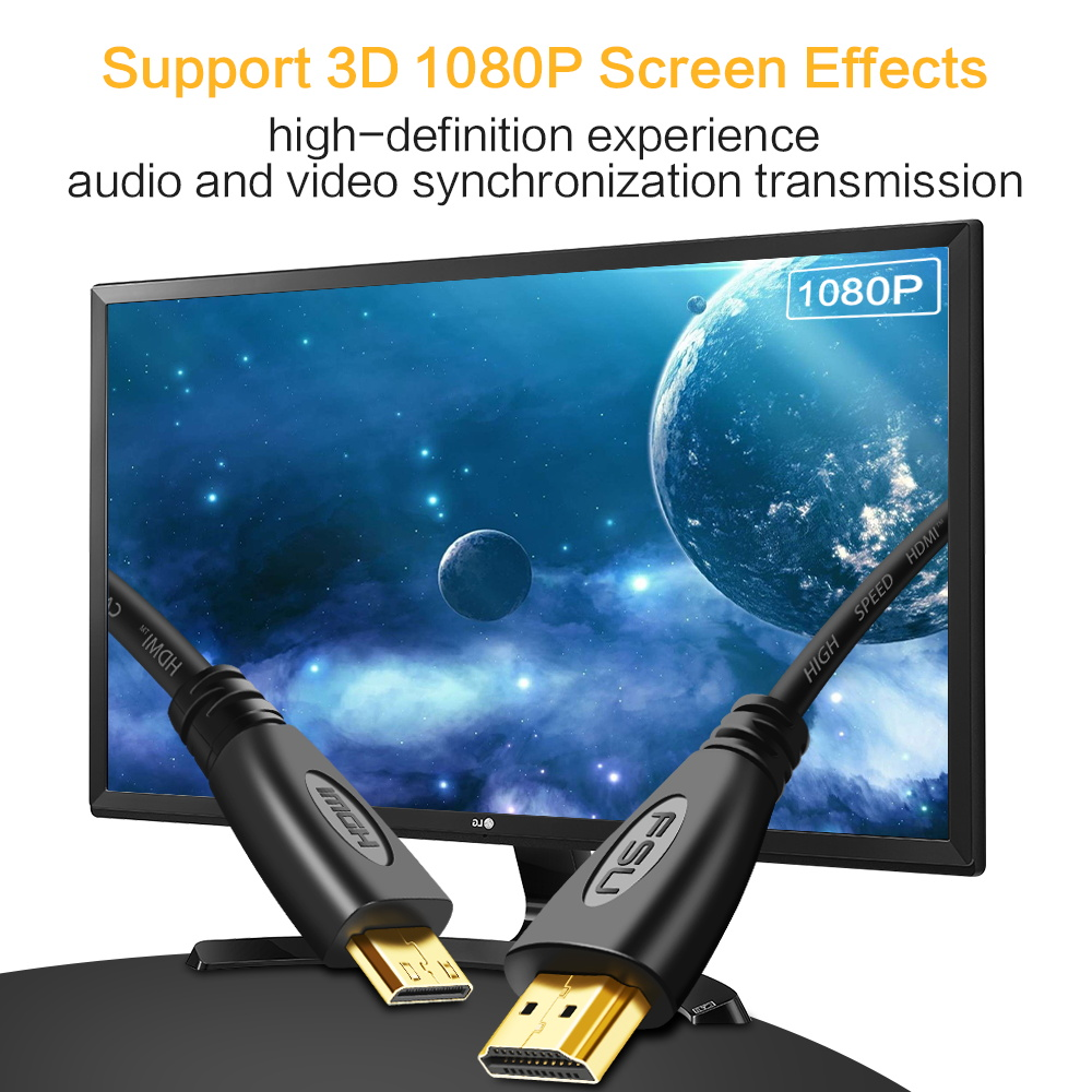 1080P 3D Effect Mini HDMI to HDMI Cable High Speed Adapter With Gold Plated Plug For 1080P 3D Effect Mini HDMI to HDMI Cable High Speed Adapter With Gold Plated Plug For Camera Monitor Projector Notebook