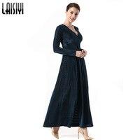 LAISIYI Plus Size Winter Spring 2018 Women Slim Velvet Maxi Dresses Long Sleeve Sexy V Neck