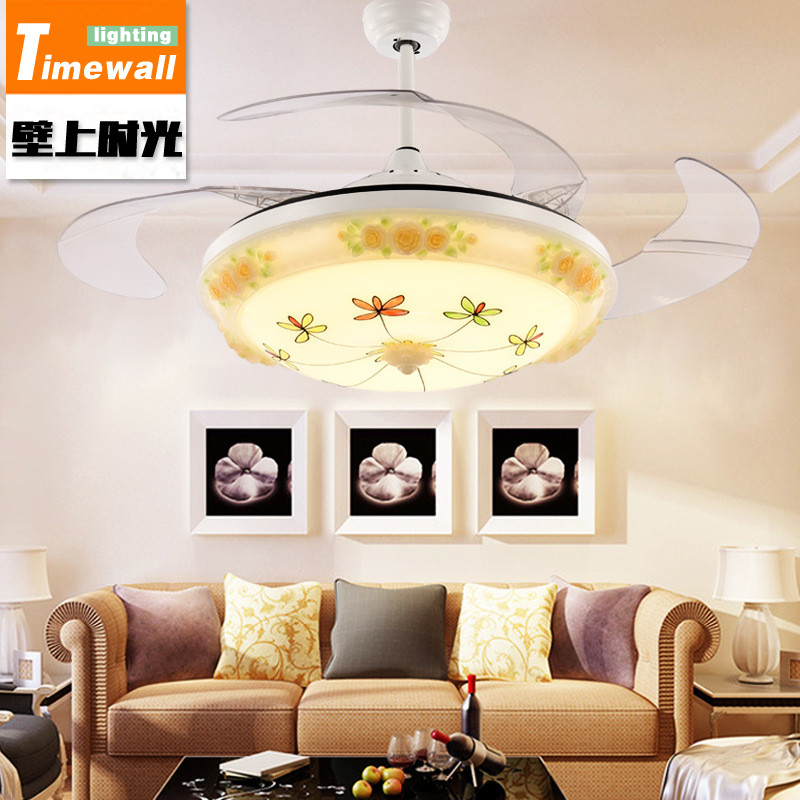 Hidden ceiling fan lamp for living room dining room fan fan bedroom with LED fan fan simple crystal hidden ceiling fan lamp restaurant fan room living room bluetooth music live fan lamp home romance
