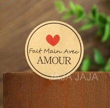Autocollant rond Fait main avec Amour, étiquette en papier, diamètre 3.8cm, pour emballage de boulangerie et cadeau Fait maison, 3.8cm