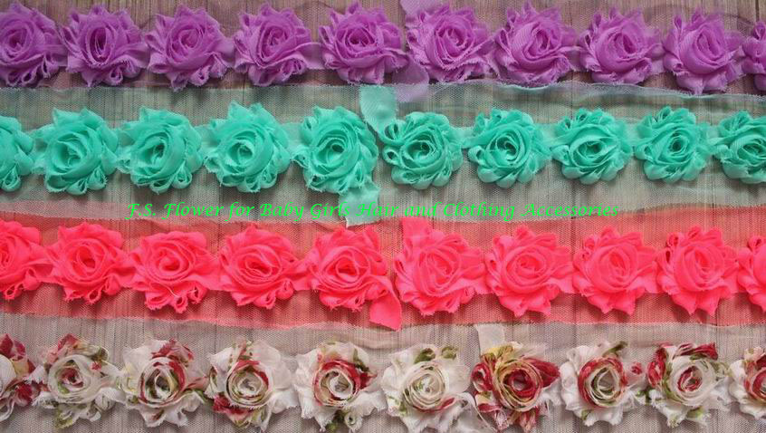 "Free DHL 52y 1.5"" Mini Chiffon Frayed Flower Trim for Kids Hair Accessories,Chiffon Shabby Flowers for Girls Headbands"