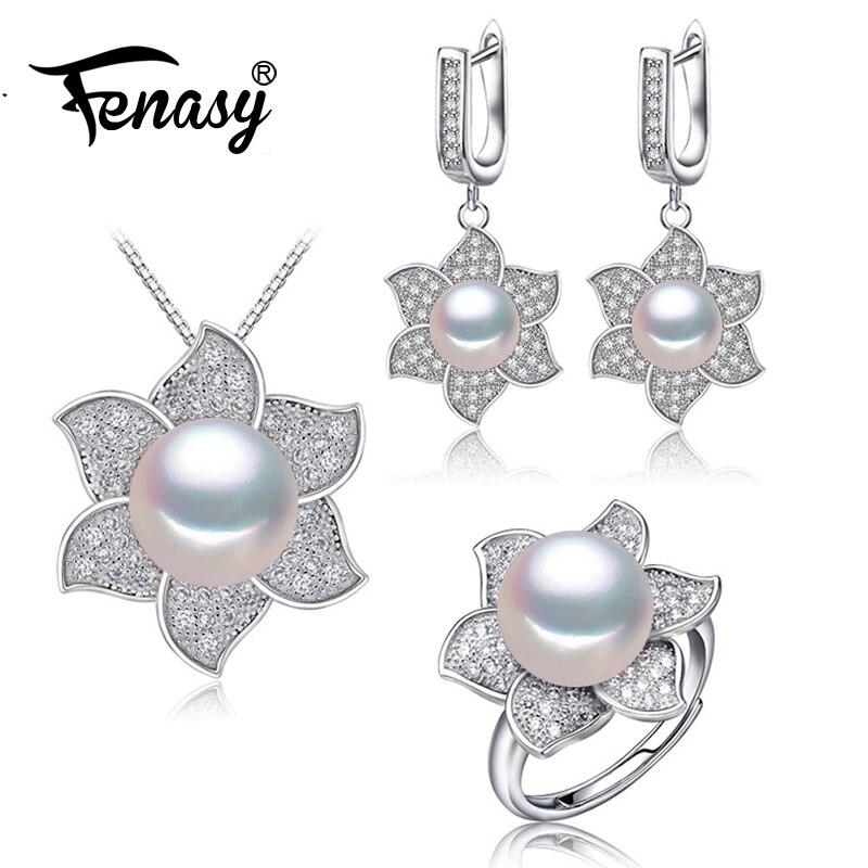 Humor Fenasy Perle Schmuck Perle Anhänger Halskette 925 Sterling Silber Stud Ohrringe Für Frauen Große Blume Ring Braut Schmuck Sets