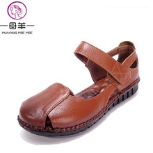 2016 New Fashion Summer Women Shoes Genuine Leather Flat Sandals Soft Outsole Shoes Woman Casual Sandals Women Sandals