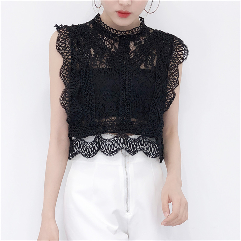 Spring Summer Boho Korean Women <font><b>Sexy</b></font> Shirts Stand Neck Sleeveless See Through Lace Blouse Sweet <font><b>Crop</b></font> <font><b>Tops</b></font> Retro <font><b>Crochet</b></font> Blusas image