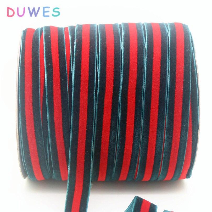 DUWES Livraison gratuite Pas élastique rouge et vert de velours ruban hairbow chapeaux décoration en gros accessoires D713