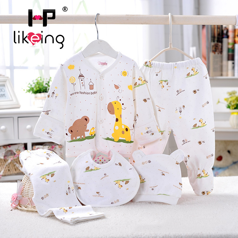 5pcs/set 100% Cotton lovely Shirt and Pants Suits for Newborn Baby clothes Infant Clothing Set Brand baby girl boy born clothes summer baby boy clothes set cotton short sleeved mickey t shirt striped pants 2pcs newborn baby girl clothing set sport suits