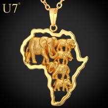 U7 Gold Plated Africa Elephant Men Necklace For Women Fashion Party 2016 African Map Pendant Necklace Hiphop Animal Jewelry P773