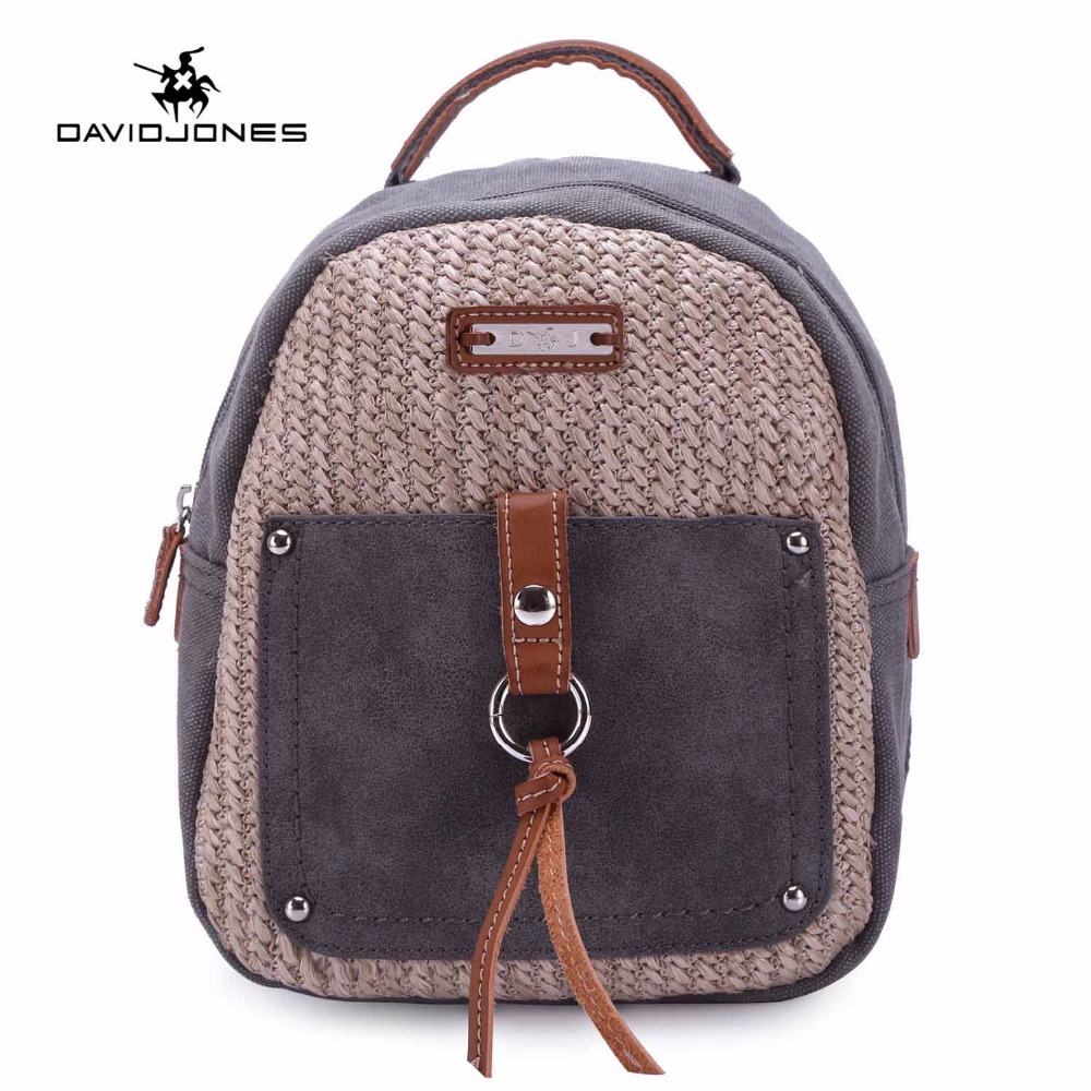 DAVIDJONES Women canvas backpack femal knitting shoulder bags ...