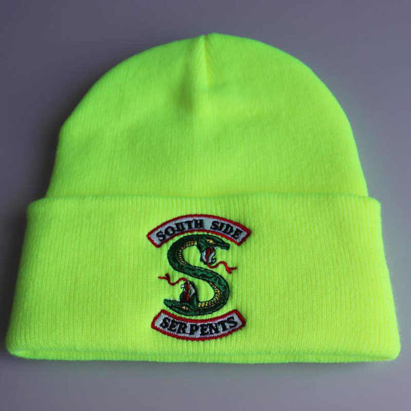 2019 New Beanies Riverdale South Side Men Women Serpents Cosplay Hats Skullies Cap Winter Knitted Embroidery Hats Hot Sale