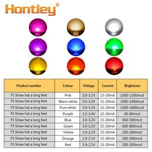 Image 2 - Hontiey 100 viên 5mm F5 Mũ Rơm Thắp sáng DIY LED Trắng Vàng Xanh Đỏ Xanh Nước Hình Tròn Trong Suốt ánh sáng Phát Ra Hạt Đèn
