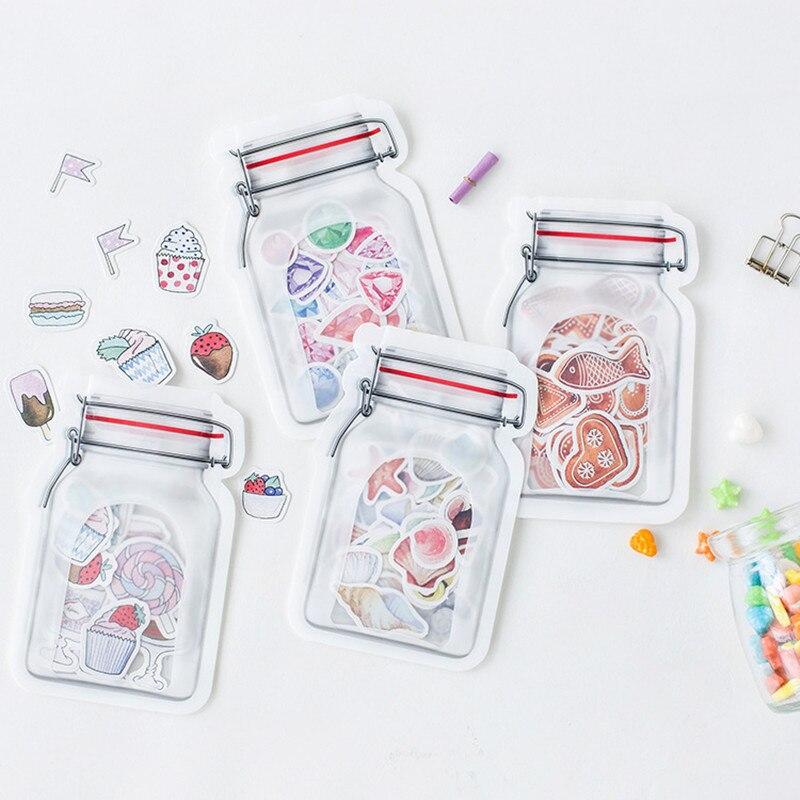 40pcs/bag Creative Original Pot Fish Shell Diamonds Candy DIY Scrapbook Decoration Sticker Sheets Label Notes Post Stationery